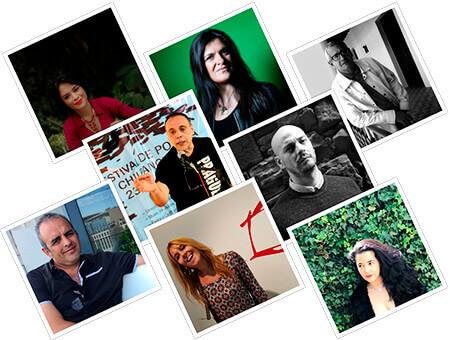 Fotos de los ocho poetas que participan en la primera entrega de la colección literaria «Alfabeto del mundo»