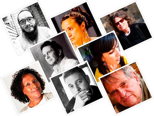 Fotos de los ocho poetas que participan en la segunda entrega de la colección literaria «Alfabeto del mundo»