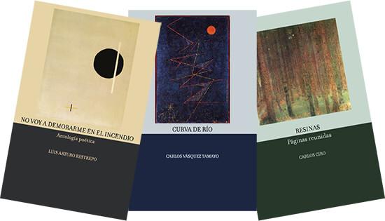 Colección Batiente de poesía - Portadas de los libros de Luis Arturo Restrepo, Carlos Vásquez y Carlos Ciro
