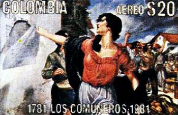 """Estampilla de correo aéreo que circuló en 1981, con ocasión de """"Comuneros 81"""", el bicentenario de la revolución comunera."""