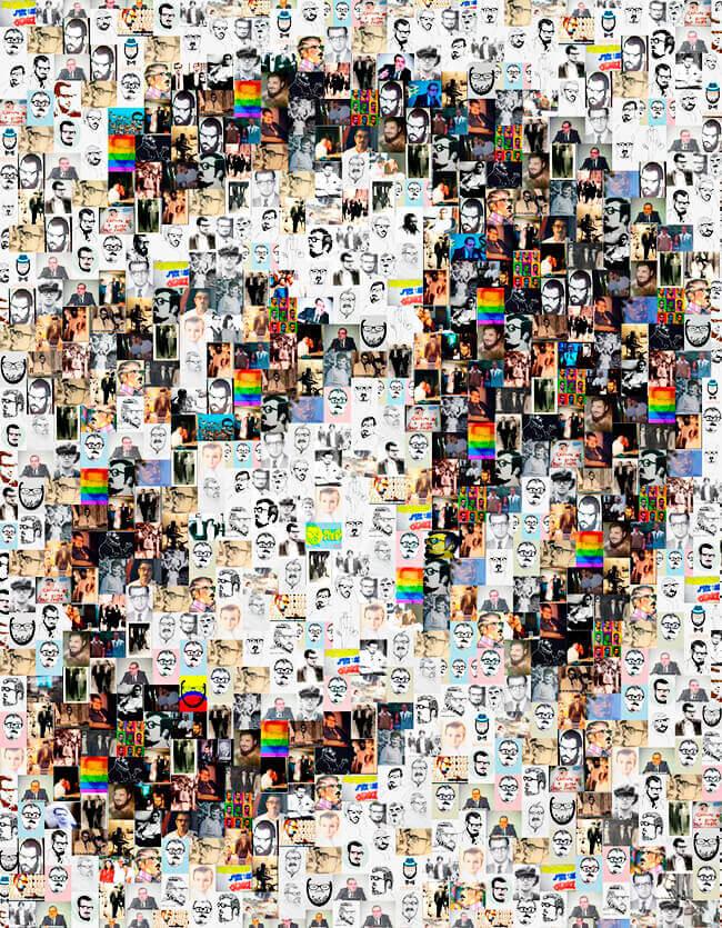 Mosaico de imágenes que forman el rostro de Estanislao Zuleta