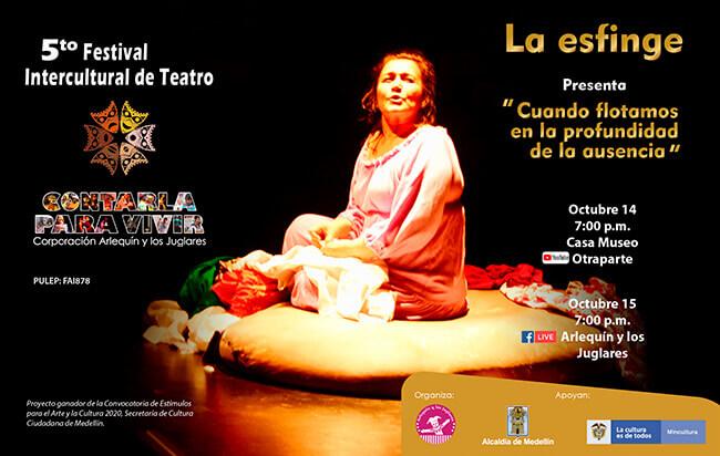Pieza de difusión de la obra «Cuando flotamos en la profundidad de la ausencia» del grupo La Esfinge Teatro de Ilusiones