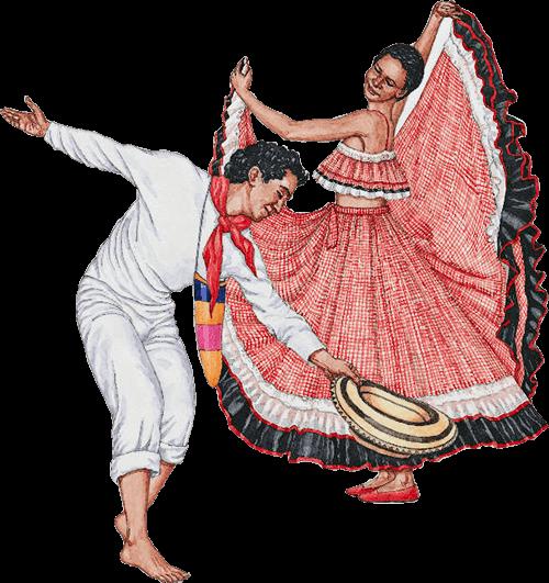 Ilustración de una típica pareja colombiana bailando cumbia