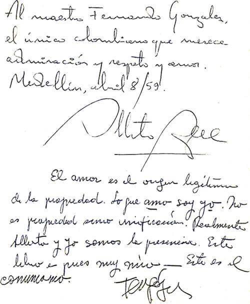 "Dedicatoria de Alberto Aguirre a Fernando González en un ejemplar del libro ""Toit et moi"" de Paul Géraldy"