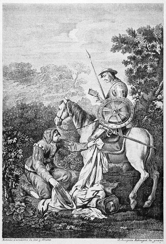 «Don Quijote y Sancho revisan el contenido de la maleta» - Ilustración de Antonio Carnicero (1748-1814) y grabado de José Joaquín Fabregat (1748-?)