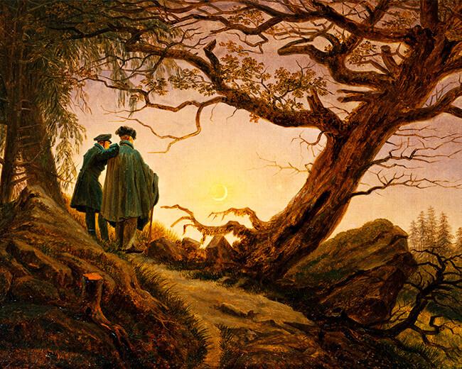 «Dos hombres contemplan la luna» de Caspar David Friedrich (1774–1840)