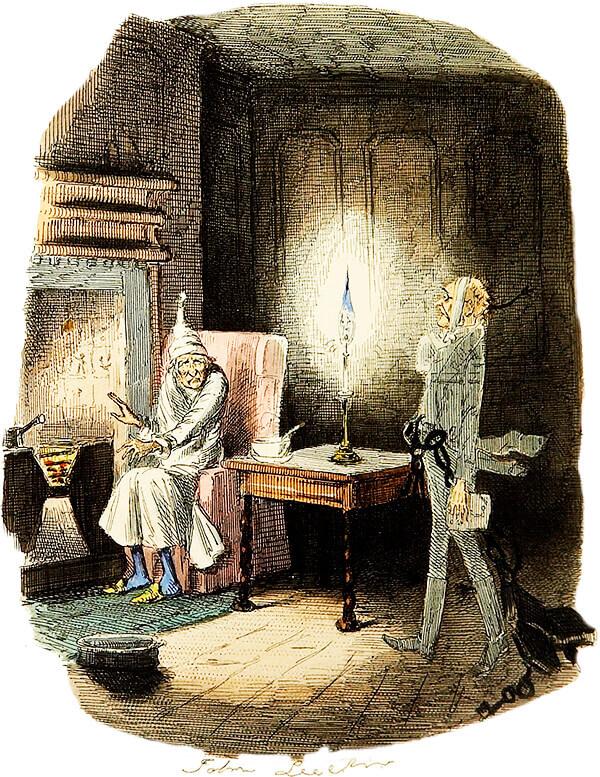 Ebenezer Scrooge y el fantasma de Jacob Marley. Ilustración de John Leech (1843) para la novela «Cuento de Navidad» de Charles Dickens