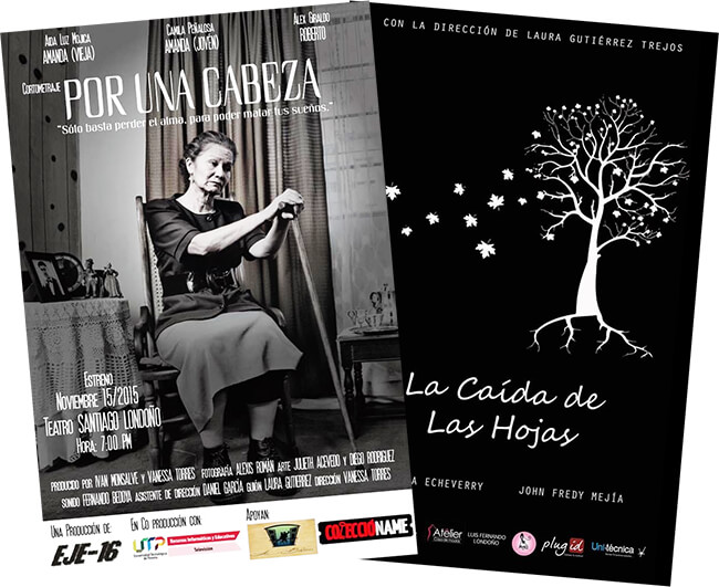 Dos afiches de la Corporación Eje-16 de Pereira