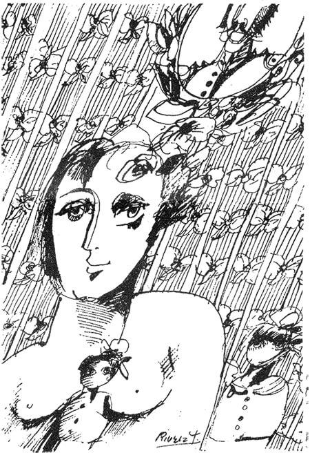 """Conferencia """"El nadaísmo y la mujer"""" de Rosemary Smith (Rosa Girasol, 1968) / Ilustración de Augusto Rivera Garcés para la transcripción de la conferencia, publicada por Tercer Mundo Editores en 1968"""