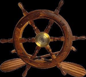 Ilustración de un timón de barco y de unos remos
