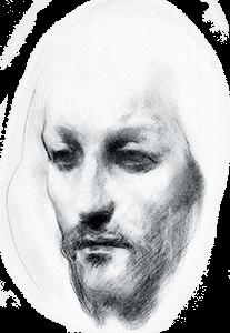 Ilustración de la cara del profeta por Kahlil Gibran