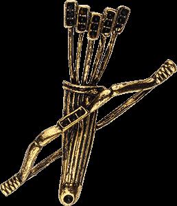 Ilustración de un arco antiguo con flechas