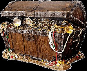 Ilustración de un cofre lleno de joyas