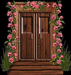 Ilustración de una puerta con flores