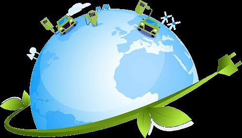 Electromovilidad - Ilustración de la Tierra con automóviles eléctricos