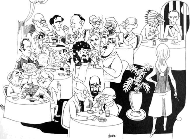 Ilustración de diversos artistas nacionales por Elkin Obregón para la Compañía Nacional de Tabaco (imagen tomada de la Revista Bacánika).
