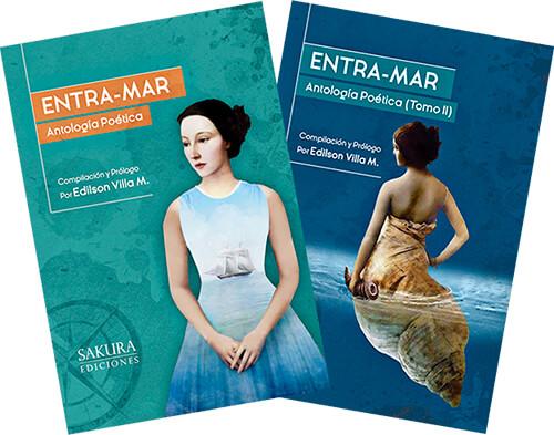 Portadas de la antología poética «Entra-Mar» (tomos 1 y 2)