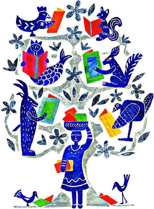 Ilustración de una niña y animalitos lectores