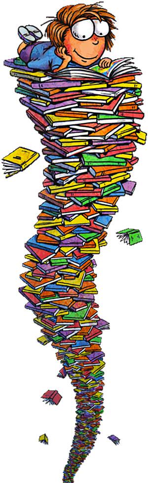 Niño lector sobre una pila de libros - Ilustración © Tedd Arnold