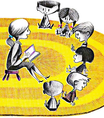 Niños lectores con la maestra
