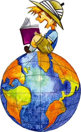 Ilustración de un niño leyendo sobre el planeta Tierra