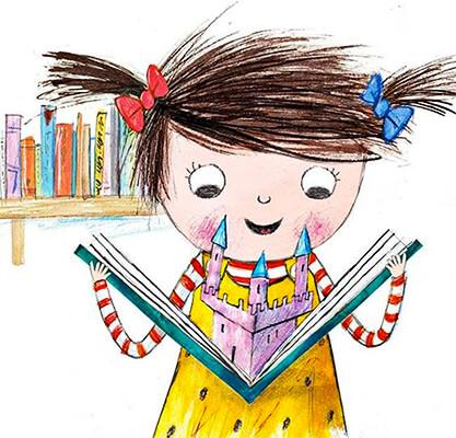 Ilustración de Laura Hughes de una niña leyendo