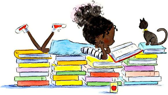 Ilustración de Amariah Rauscher de una niña leyendo