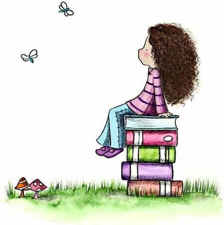 Ilustración de Amariah Rauscher de una niña leyendo y soñando