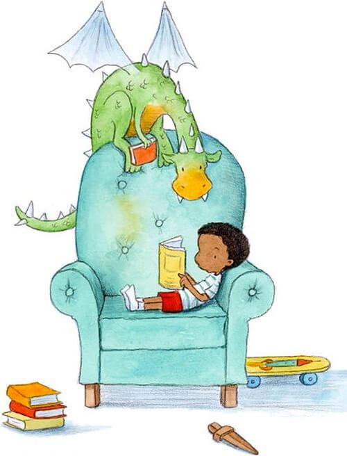 Ilustración de Amariah Rauscher de un niño leyendo