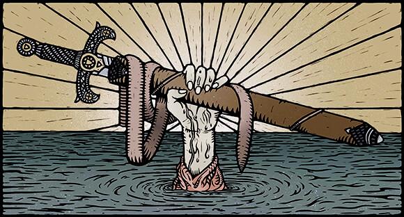 Ilustración de la espada del rey Arturo por Georgie Gozem