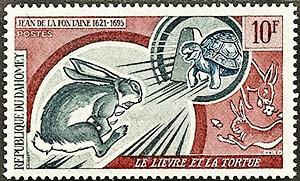 Estampilla conmemorativa del cuento «La liebre y la tortuga» de Jean de La Fontaine