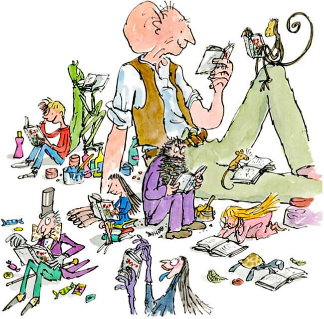 Ilustración de algunos personajes de Roald Dahl por Quentin Blake