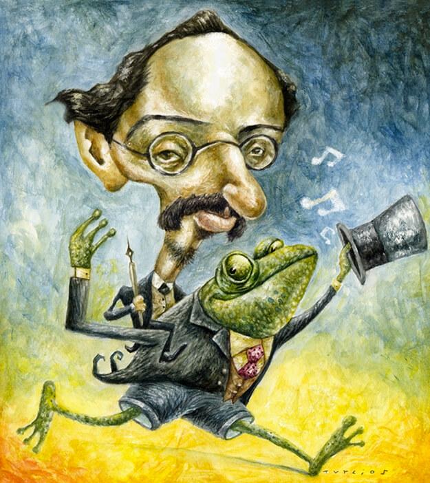 Ilustración de Rafael Pombo por Turcios
