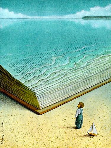 Ilustración de un niño lector