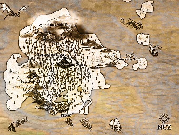 Ilustración de mapa del libro «Angelia, la criatura» de Hernando Muñoz Peschken