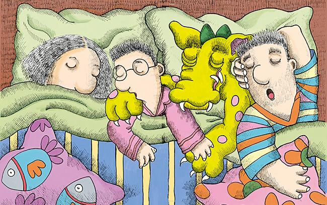 Ilustración de Ivar Da Coll para el cuento «Una cama para tres» de Yolanda Reyes