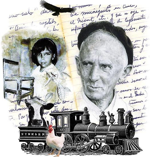 Collage de Fernando González y algunos objetos relacionados con sus historias con niños
