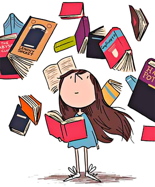 Ilustración de una niña lectora
