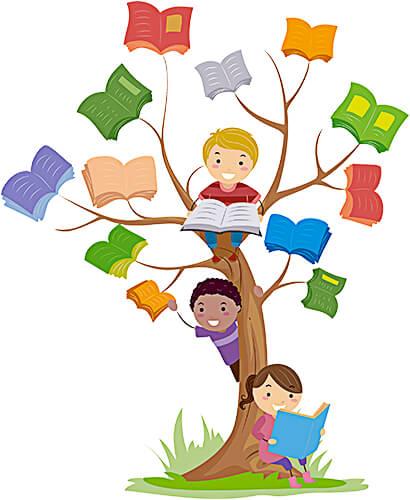 Ilustración de niños lectores en un árbol de libros