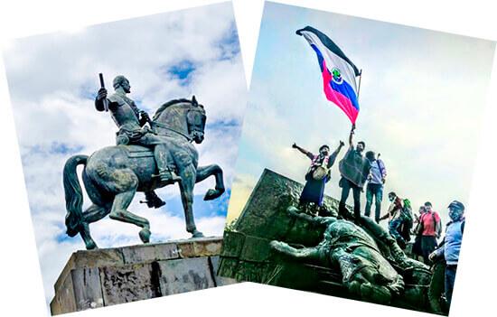 Estatua del conquistador Sebastián de Belalcázar, derribada por el Pueblo Indígena Misak en Popayán.