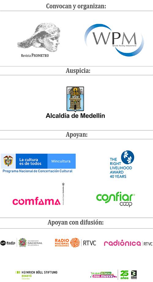 Entidades que apoyan el Festival Internacional de Poesía de Medellín 2020