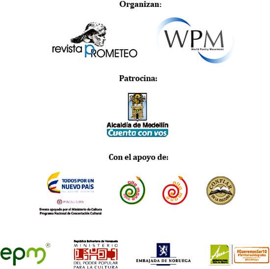 Entidades que organizan y apoyan el XXVI Festival Internacional de Poesía de Medellín