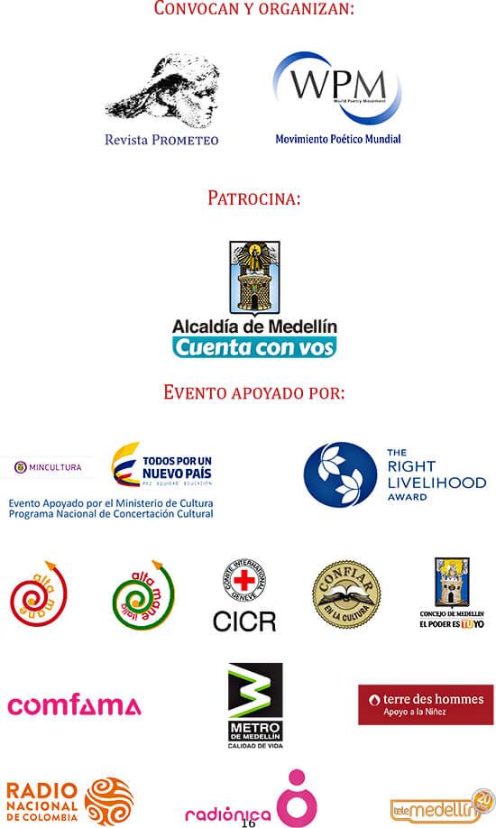 Entidades que organizan y apoyan el XXVII Festival Internacional de Poesía de Medellín