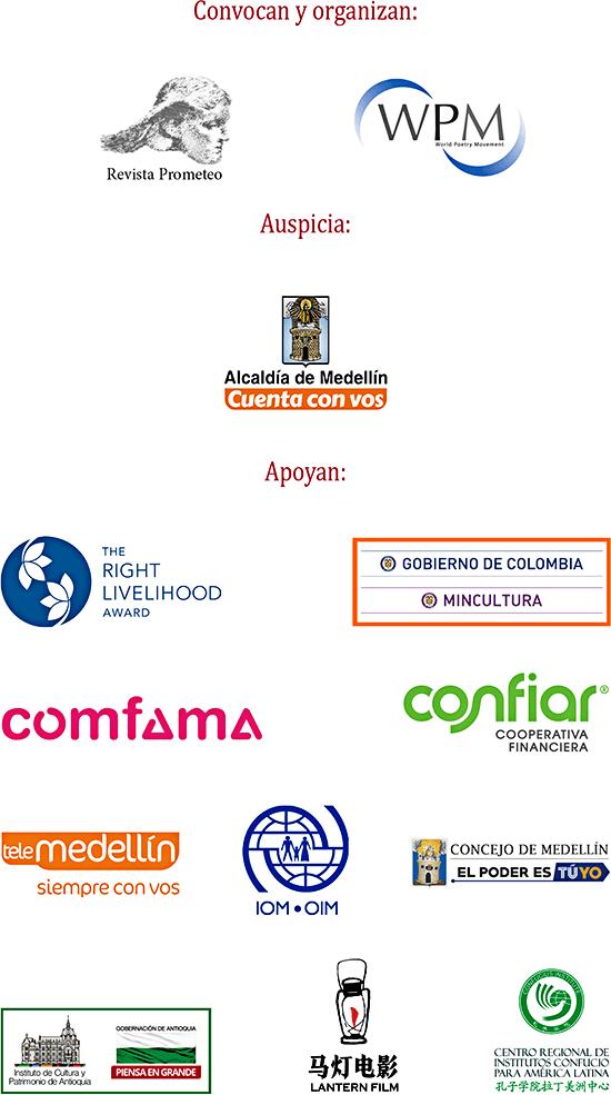 Entidades que organizan y apoyan el XXVIII Festival Internacional de Poesía de Medellín