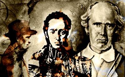 Fernando González, Simón Bolívar y Lucas Ochoa - Ilustraciones por Daniel Gómez Henao - Montaje de Otraparte.org
