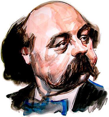 Gustave Flaubert - Ilustración © Ricardo Ajler