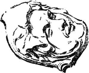 """Cabeza de persa moribundo - Ilustración de """"El Hermafrodita dormido"""" de Fernando González - 1933"""