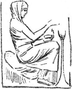 """Ninfa que ofrece sacrificio a Venus - Ilustración de """"El Hermafrodita dormido"""" de Fernando González - 1933"""