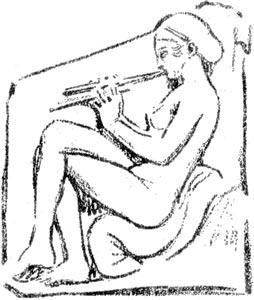 """Ninfa que toca la doble flauta - Ilustración de """"El Hermafrodita dormido"""" de Fernando González - 1933"""