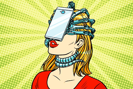 Ilustración de una mujer atrapada por un celular